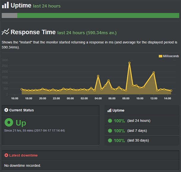 Bluehost server time and response time