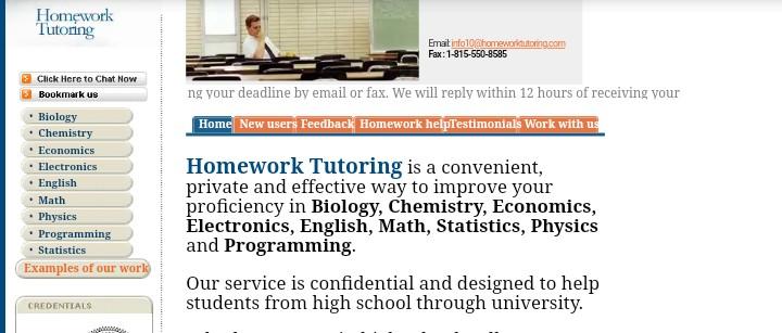 Homework tutoring
