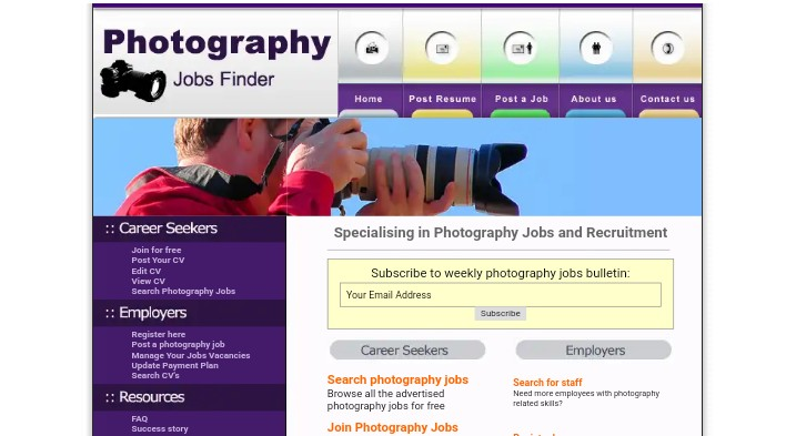Photography job finder