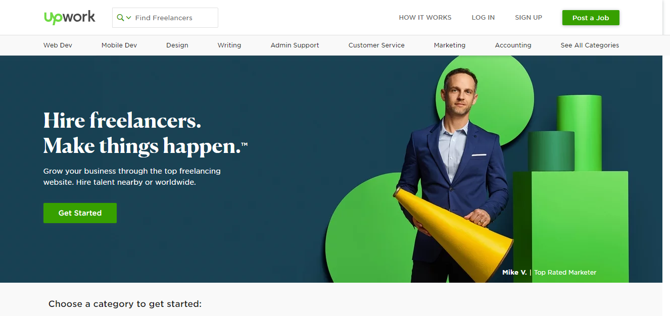 Freelance jobs website Upwork