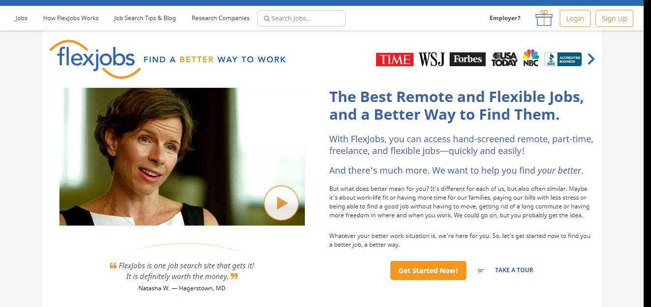 Freelance jobs website - Flexjobs